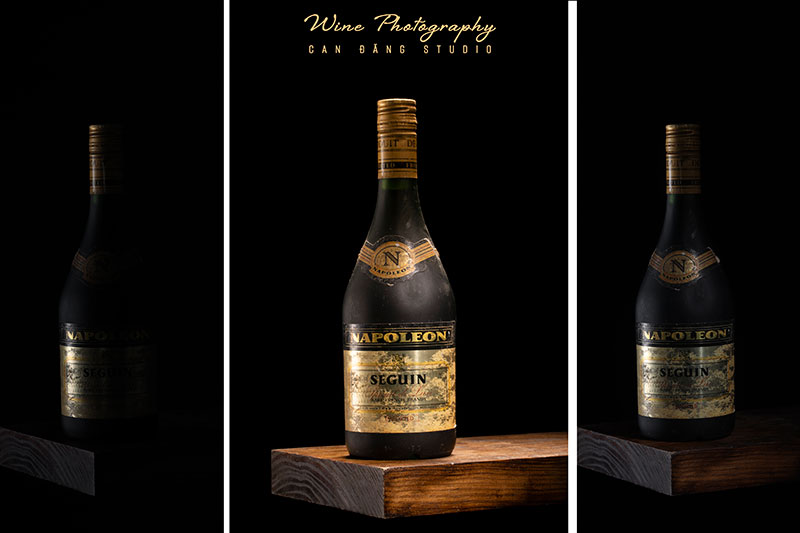 Sản phẩm đen trên nền đen – Wine Photography
